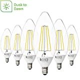 Sunco Lighting 6 Pack B11 LED Candelabra Bulb, Dusk-to-Dawn, 5W=40W, 2700K Soft White, Filament, 500 LM, E12 Base, Outdoor Decorative Light for Sconces - UL