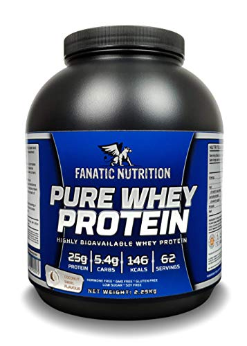 Fanatic Nutrition Pure Whey Protein Powder With High levels of BCAA, Rapidly Absorbed Protein Supplements, 62 Servings, 2.25kg, Coconut Swirl