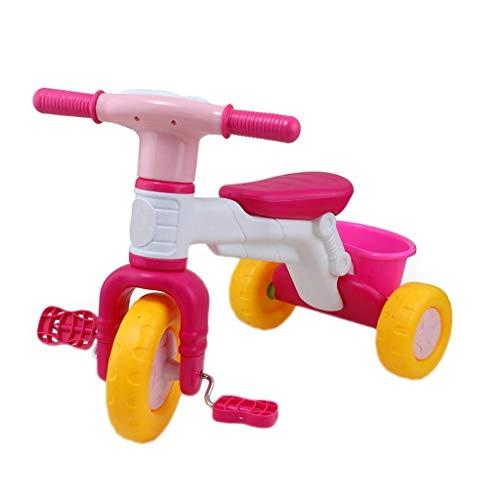 LINZI Triciclo Trike Triciclo Triciclo, plástico Verde Bicicleta de Tres Ruedas, 3-6 años de Edad, Triciclo al Aire Libre, diseño de Canasta Grande, 2 Colores, 38x60x45cm (Color: Rosa) (Color: Azul)