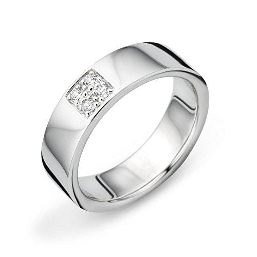 Miore Alianza de boda de plata de ley 925 con circonita, Cubic Zirconia,