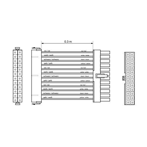 PerfectHD PC Mainboard Verlängerung/Verbindungskabel | ATX Stecker (24-polig) zu ATX Buchse (24-polig)
