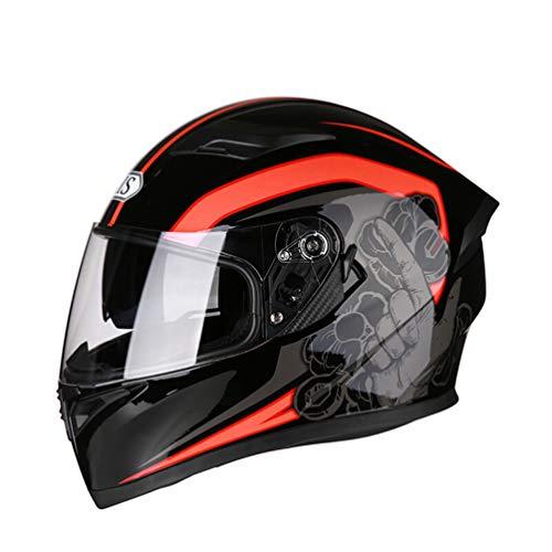 Qianliuk Uomo Donna AntiFog Lente Casco Motocicletta Completo Casco Quattro Stagioni Sicurezza Motocross caSchi cap 53-63cm