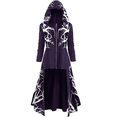Jacke Damen Langarm Fashion Vintage Mittelalter Print Gothic Mantel Mode Mit High Low...