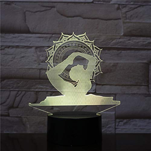 Nur 1 Stück Yoga Queen 3D LED Nachtlichter Touch Table Lamp Kreatives Geschenk als Home Decoration LED Nachtlampe
