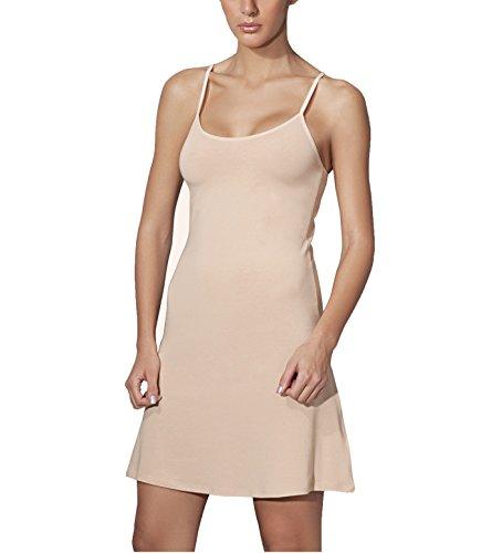 Doreanse Unterkleid verstellbare Träger Damen Mini Nachtkleid Modal Baumwolle Soft Cotton Full Slip (38 - M, Beige)
