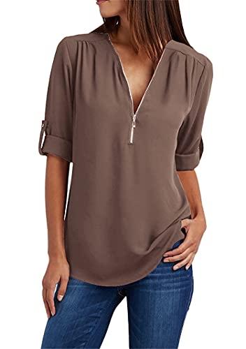 YMING Women's V Neck Zipper Shirt Roll Up Sleeve Casual Shirt Summer Top Coffee 3XL