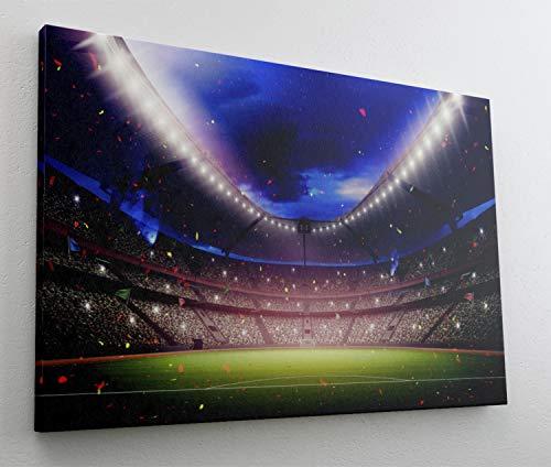 Fussball Stadion Sport Leinwand Bild Wandbild Kunstdruck L1212 Größe 100 cm x 70 cm