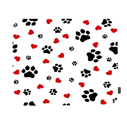 EKOBLA Cute Colorful Paw Print Mouse Pad Lovely Puppy Animal Dog Cat Footprint Red Hearts Gaming Mouse Mat Non-Slip Rubber Base Thick Mousepad for Laptop Computer PC 9.5x7.9 Inch