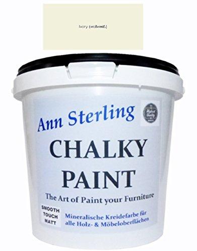 Ann Sterling Kreidefarbe Shabby Chic Farbe: Ivory / Wollweiß / Elfenbein 1,5Kg. / 1 Liter Lack Chalky Paint