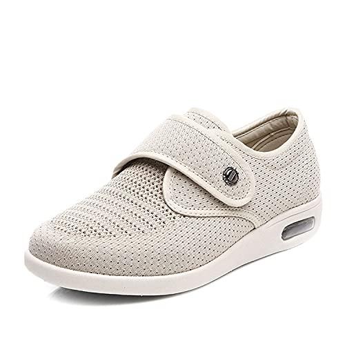 AXDNH Zapatos Diabéticos para Mujer, Zapatillas De Deporte Adicionales para Caminar Ajustables Confort Edema Casa Zapatillas para Pies Ancianos Hinchados, Dolor De Pie,Beige,40