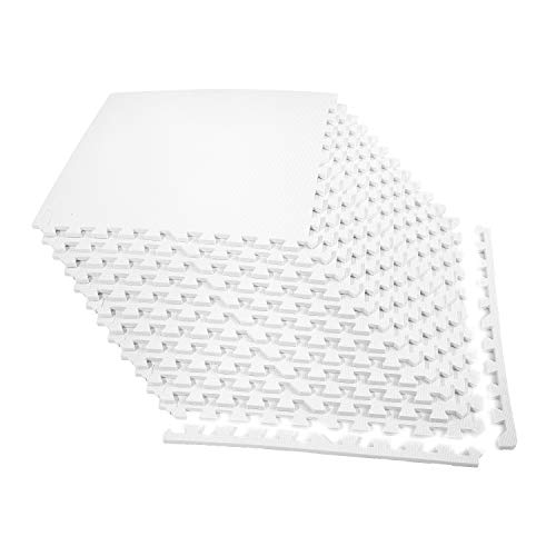 IncStores 1/2 Inch Thick Exercise Foam Flooring Tiles   High-Density Interlocking Foam Tiles for Portable Floor Protection in Your Home Gym, Playroom, and More   White, 12 Tiles