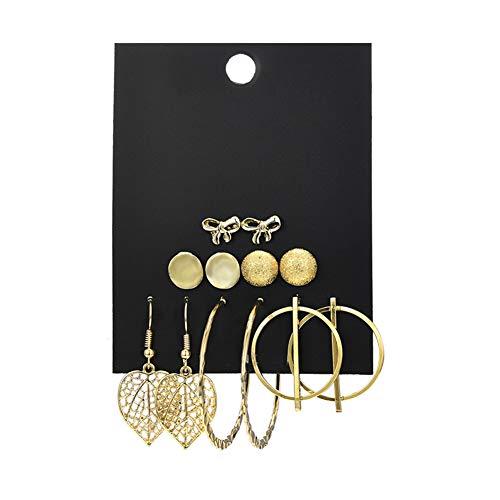 Cosanter 1 Set Pendientes Mujer Pendientes de Aleación de Hoja Simple Conjunto Pendientes Femeninos Dorado Pendientes Colgantes Preciosa y Brillante