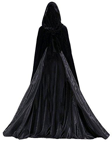 Dressvip - Mantello medievale con cappuccio, per uomo, donna, bambino, taglia cliente Nero S