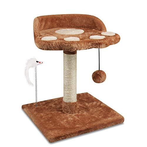 YMINA Tiragraffi per gattini albero con 2 giocattoli interattivi Tiragraffi per gatti corda di sisal con piattaforma Attività per giocare e dormire Altezza 40 cm Marrone