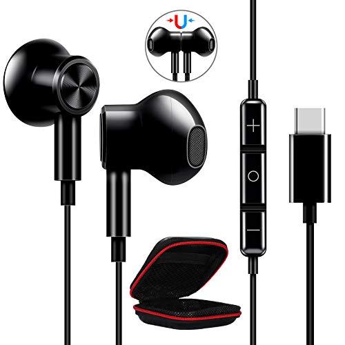 ACOCOBUY Écouteurs USB C avec Microphone pour Samsung S21 Écouteurs Filaires Intra Auriculaire Réduction de Bruit dans l'oreille pour Samsung S20 FE/S21 Ultra OnePlus 9 Pro 8T Nord Mi 10T Pro POCO F3