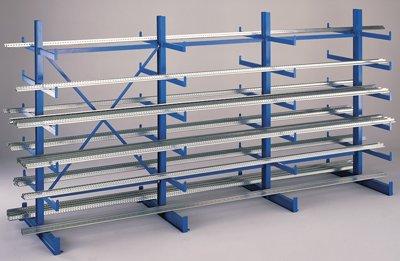 SCHULTE Kragarmregal, einseitig, 4 Ständer, 5 Lagerebenen, BxTxH 3750x615x2000 mm