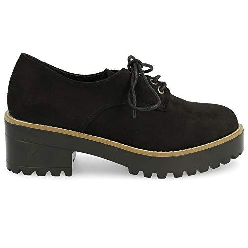 shoes&blues.es 24004- Schuh mit Ferse und Gummi-Plattform, Schnursenkel und runde Spitze, mit cremefarbenen Zierleisten auf dem Boden. Absatzhohe: 5 cm. Plattformhohe: 2,5 cm. Size 36 Negro