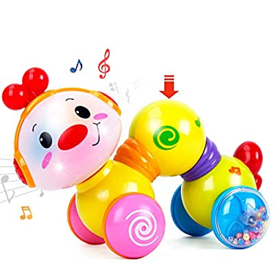 CubicFun Baby Toys 6 Months Plus Musical Press and Go Inchworm Toy with Light up Face Caterpillar Crawling Toys for 6 8 9 10 12 Month Babies Toys for 1 Year Old Girls Boys by CubicFun