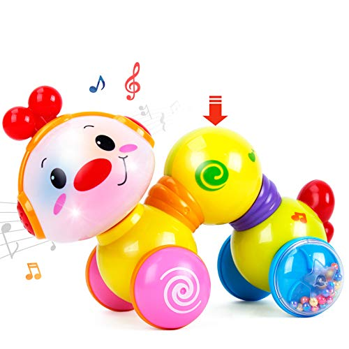 CubicFun Baby Toys 6 to 12 Months Musical Press and Go Inchworm Toy with Light up Face Caterpillar Crawling Educational Toddler Baby Toys 12-18 Months, Toys for 1 Year Old Girls Boys