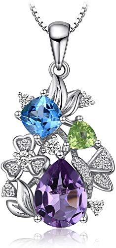 necklace Ladies fashion Flower genuine purple crystal sky blue Toppa triangle olivine pendant pure silver 18 inch Hoisting