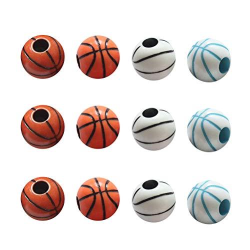 Toyvian 60 stücke Bunte Basketball Muster Runde Perlen Armband Halskette Schmuck DIY Zubehör Hand Kunst Handwerk Dekoration Lieferungen Perle