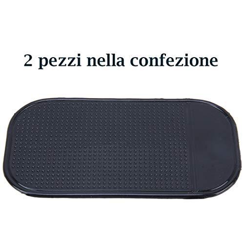 Tech Stor3 Tappetino Auto Antiscivolo per cruscotto per telefoni cellulari, Chiavi, Occhiali, Monete, MP3, GPS ECC. Dimensioni 13cm x 7cm (2 Pezzi)