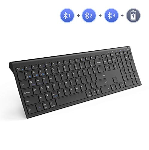Multi-Device Wireless Bluetooth Keyboard, Jelly Comb Full Size Ultra Slim Rechargeable Wireless Bluetooth Keyboard Compatible for iPad, iPad Pro, iPhone, Android Tablets, Windows, iOS, Mac OS (Black)