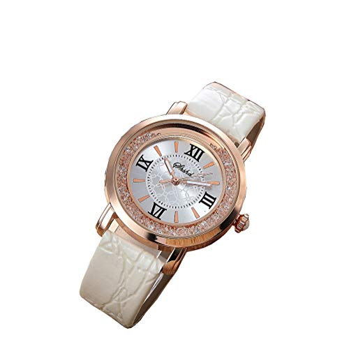 Mode luxe quartzhorloges, multifunctioneel horloge, dameshorloge voor dames met leren band en gouden roestvrijstalen kast Koop één weggeef één (willekeurig),White