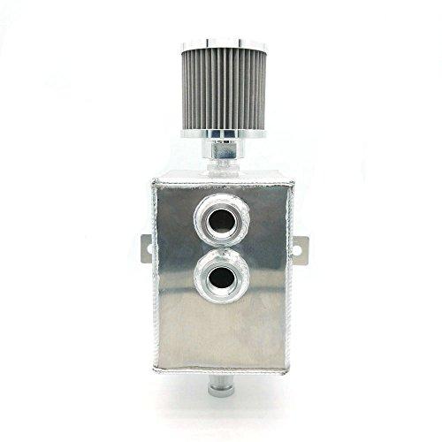 Heinmo Voiture Raw Aluminium 2L JDM Huile Catch Peut Réservoir Reniflard et robinet de vidange Long universel
