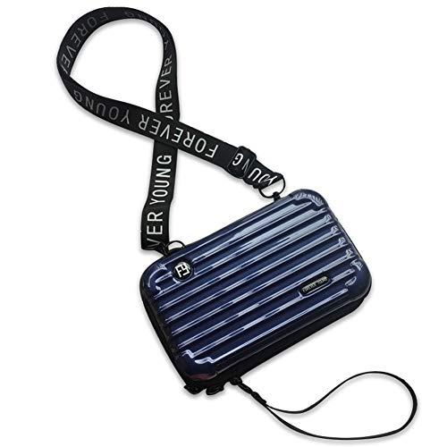 MAGIMODAC Mini Umhängetasche Handy Damen Klein Handytasche Geldbörse Crossbody Schultertasche Kofferform Handtasche (Quer-Dunkelblau)