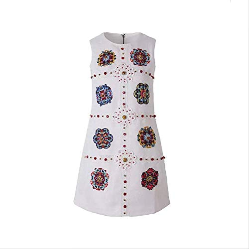 Zomer Elegante Bloemen Applique A-Lijn Jurk Dames Mouwloos Kristal Kralen Knop Jacquard Vest Jurk