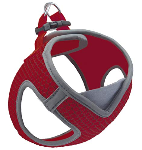 KRUZ PET KZA308-14L Reflective V-Neck Step in Mesh Dog Harness - No Pull, Easy Walk, Quick Fit, Comfortable, Velcro-Adjustable Pet Harnesses for Walking & Training - Small, Medium Dogs - Red, Large