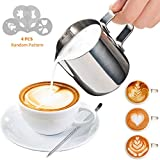 7 stars Milk Jug 350ml/12 fl.oz, 304 Stainless Steel Milk Pitcher, Milk Frothing Jug for Making Coffee Cappuccino Latte Decorating Art Pen/ 4 Pcs Random Pattern Gift Frothing Milk Coffee Machine