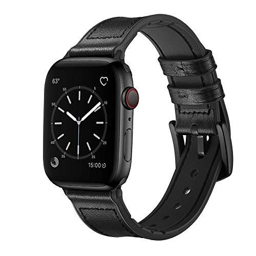 Wath Band voor Apple Horloge Series5/4/3/2/1, Lederen Horlogeband met Siliconen Rubber Waterdichte Vervangende Armband, 42mm/44mm, Leather/Silicone Black