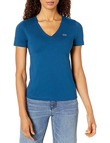 Lacoste Womens Short Sleeve Classic Supple Jersey V-Neck T-Shirt T-Shirt, Raffia Matting Blue, 2