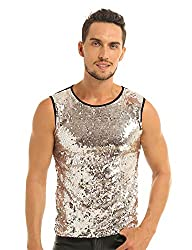 Black&Gold Sequin Muscle Slim Fit Tank Top T-Shirt