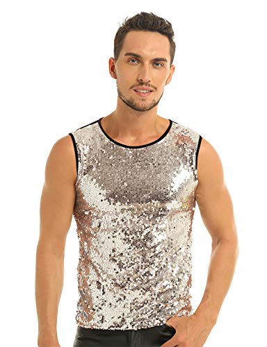 ACSUSS Men's Shiny Sequined Slim Fit Muscle Vest Tank Top Clubwear Stage Costume Black&Gold X-Large