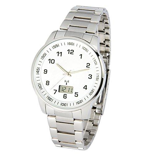 Elegante MARQUIS Herren Funkuhr (Junghans-Uhrwerk) Gehäuse und Armband aus Edelstahl 983.6908