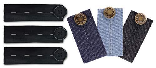 Mamaband Hosenerweiterungs Set - Elastische Hosenbunderweiterung für die Schwangerschaft - 6er Pack in verschiedenen Jeans-Waschungen und Schwarz