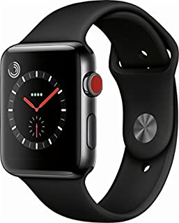 Apple Watch Series 3 (GPS + Cellular, 42MM) - Space Gray Ceramic Case with Black Sport Band...