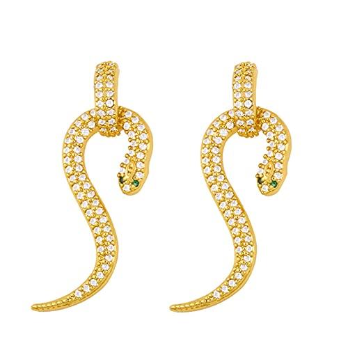 SALAN Pendientes De Gota De Serpiente De Ojo Verde para Mujer, Pendientes De Oro De Circonita Cúbica, Joyería De Mujer con Animales De Serpiente