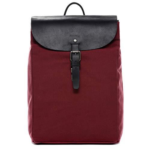 Feynsinn Rucksack Canvas & Leder HANNE Backpack Tagesrucksack Stadtrucksack Daypack Laptopfach Lederrucksack Unisex rot
