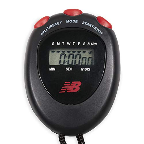 New Balance Stop Watch - Digital Stopwatch Interval Timer Exercise Handheld Display for Sports & Athletic Workout Training (Soccer, Boxing, Swim, Referee, Coaching, Kids), Black/Red