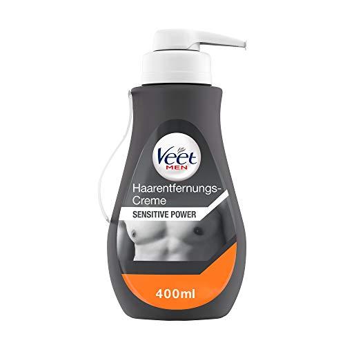 Veet Men Haarentfernungscreme Sensitive – Schnelle & effektive Haarentfernung für Männer in nur 5-10 Minuten – 400 ml Spender mit Spatel