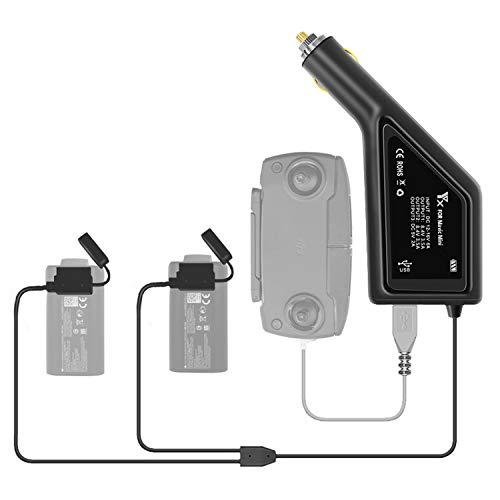 Tineer Mavic Mini Fast Car Charger Adapter con Puerto USB Mando a Distancia y 2PCS Baterías Cargador de vehículo de Seguridad para dji Mavic Mini Drone Accesorio