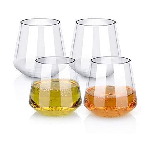 Vasos de vino de plástico Set de 4 vasos de vino blanco rojo sin romper Irrompible reutilizables 16 oz 450 ml Vasos para fiestas, bodas, acampar Mejor que las gafas de policarbonato, (Fondo cuadrado)