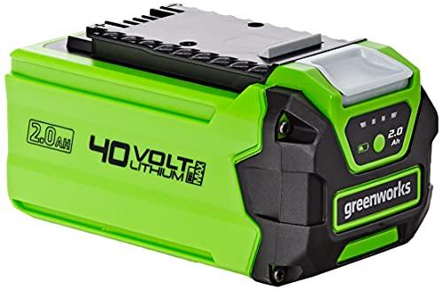 Greenworks Batería G40B2, sistema de carga rápida de Li-Ion 40V 2Ah sin autodescarga, apto para todos los dispositivos y baterías de la serie 40V de Greenworks Tools