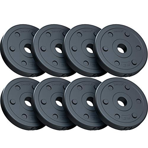 ScSPORTS® 10 kg Hantelscheiben-Set, Kunststoff, 8 x 1,25 kg Gewichte, 30/31 mm Bohrung, durch Intertek geprüft + bestanden (1)