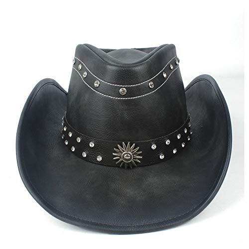 U/D HOUJHUS 100% Cuero Mujer Hombre Negro Western Cowboy Sombrero con Roll Up Brim Cinturón Punk Jazz Sombrero Sombrero Tamaño 58-59CM (Color : Negro, Size : 58-59cm)