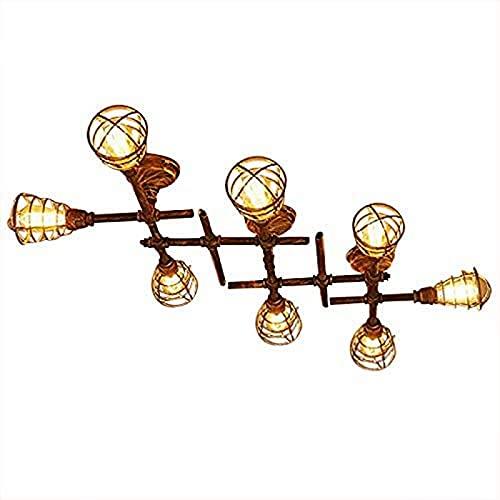 ZJDM Lámpara Colgante LED Industrial, Luces de Montaje Semi Empotrado de Metal con 8 Bombillas, zócalo de 31 '' de Ancho para casa, Cocina, desván, Pasillo, Sala de Estar Interior, Bar, café, CLU